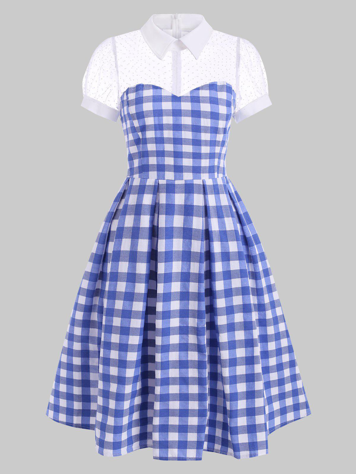 New Vintage Mesh Panel Checked Pin Up Dress