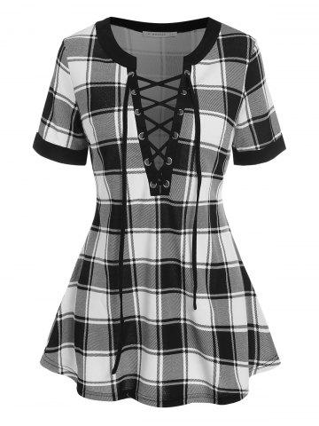Lace Up Plaid Swing Tee