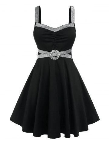 Plus Size O Ring Glitter Tape Fit and Flare Dress - BLACK - 1X