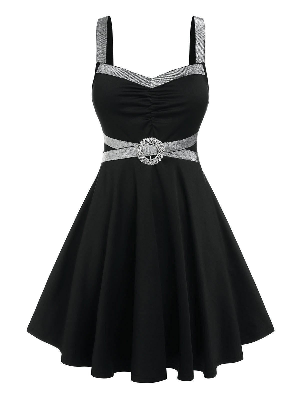 Shops Plus Size O Ring Glitter Tape Fit and Flare Dress