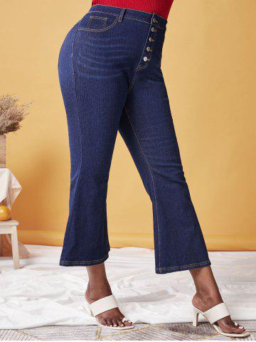 Plus Size Button Fly Flare Jeans - DEEP BLUE - 5X