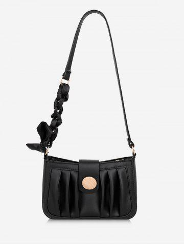 Scarf-Wrapped Strap Pleated Shoulder Bag