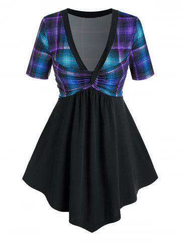 Plus Size Plaid Twisted Plunging Longline T Shirt - DEEP GREEN - 2X