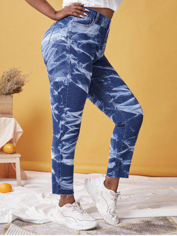 Plus Size Tie Dye Button Fly Frayed Jeans - DEEP BLUE - 3X