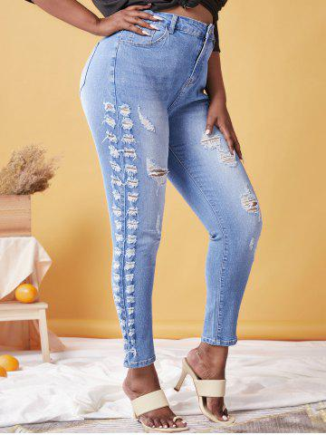 Plus Size Faded Ripped Destroyed Skinny Jeans - LIGHT BLUE - 5X