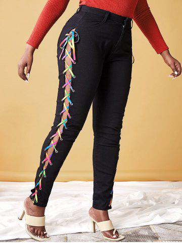 Plus Size Lace Up Rainbow High Waisted Jeans - BLACK - 5XL