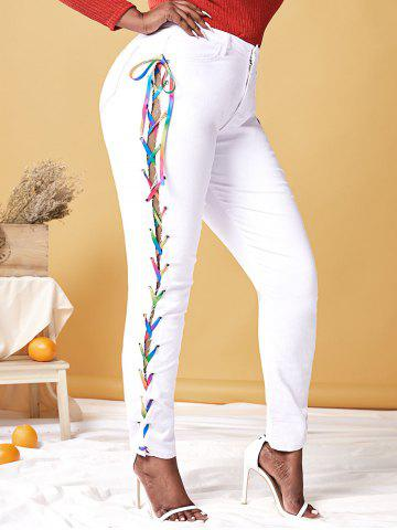 Plus Size Lace Up Rainbow High Waisted Jeans - WHITE - XL