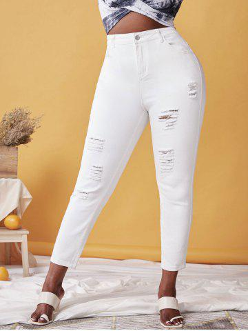 Plus Size High Waist Distressed Ripped Jeans - WHITE - L
