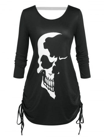 Plus Size Skull Print Cinched Halloween T-shirt