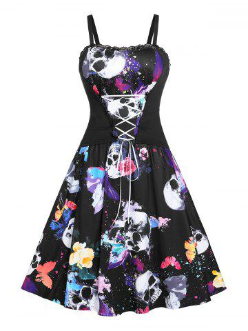 Plus Size Lace Up Butterfly Skull Print Halloween Dress
