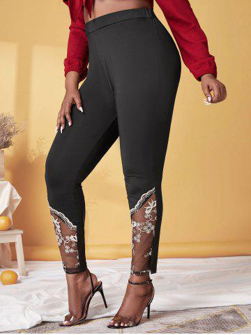 Plus Size High Rise Embroidered Mesh Skinny Pants
