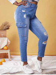 Plus Size Ripped Pockets Jeans -