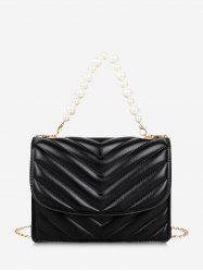 Zigzag-Quilted Faux Pearl Crossbody Bag -