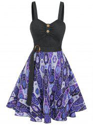 Tribal Print Ruched Fit and Flare Dress -