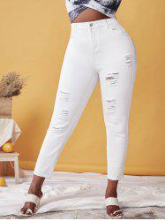Plus Size High Waist Distressed Ripped Jeans -