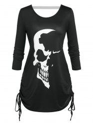 Plus Size Skull Print Cinched Halloween T-shirt -