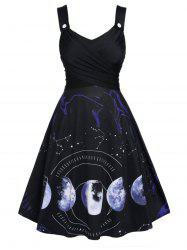 Plus Size Moon Phase Print Crossover Dress -