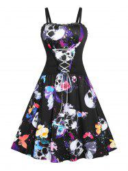 Plus Size Lace Up Butterfly Skull Print Halloween Dress -