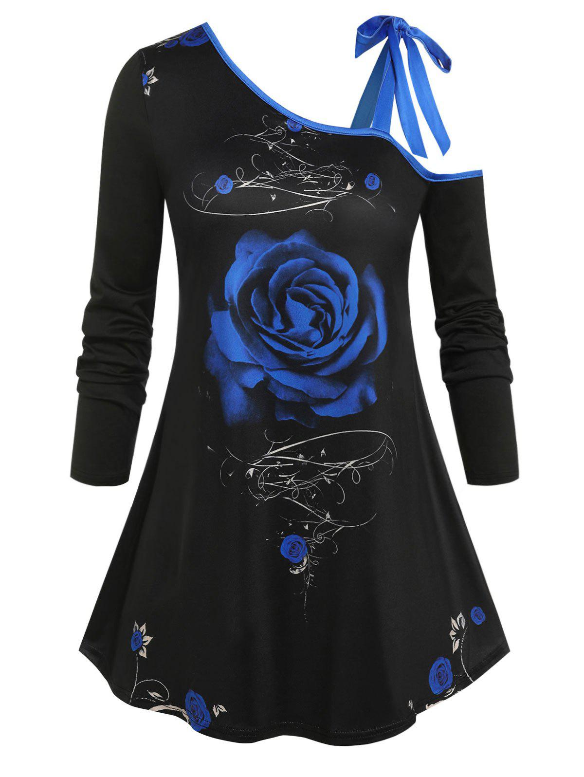 Outfit Plus Size Flower Tie Skew Collar Long Sleeve T-shirt