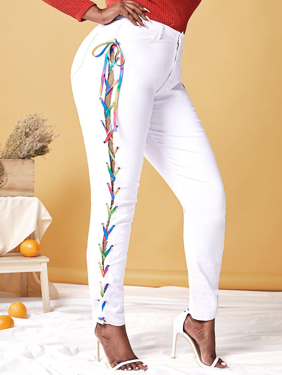Sale Plus Size Lace Up Rainbow High Waisted Jeans