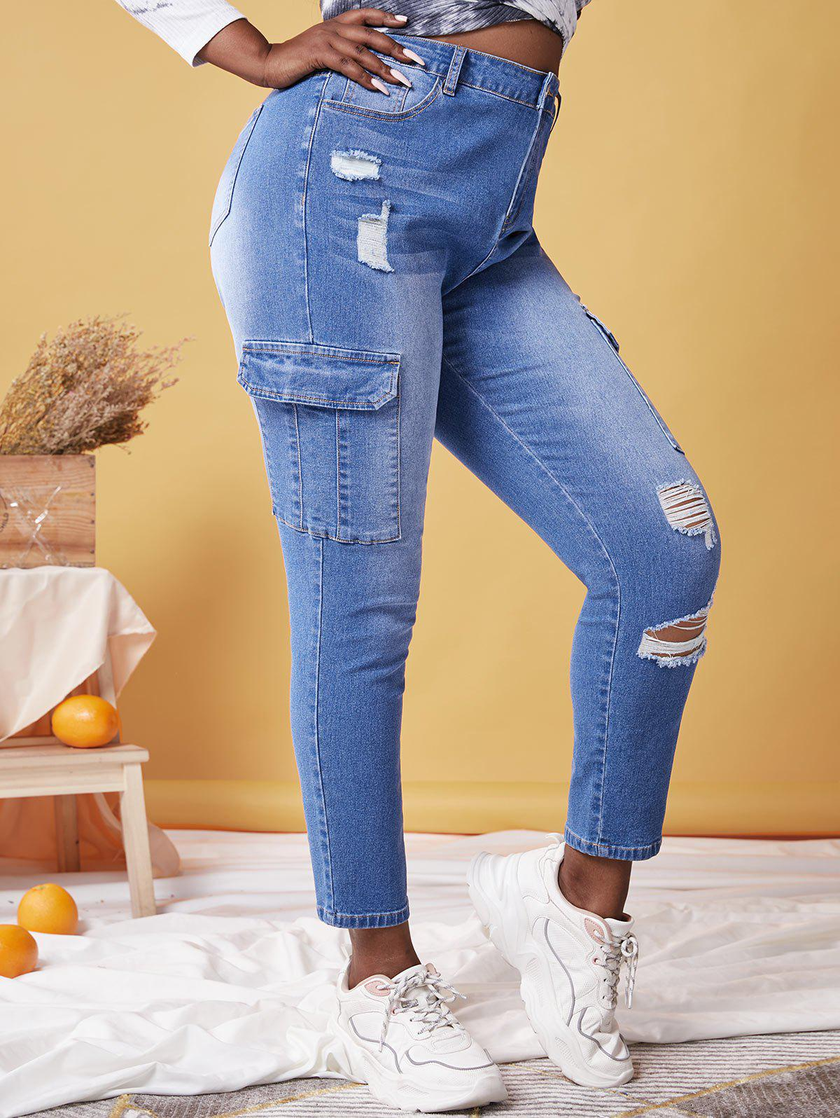Cheap Plus Size Ripped Pockets Jeans