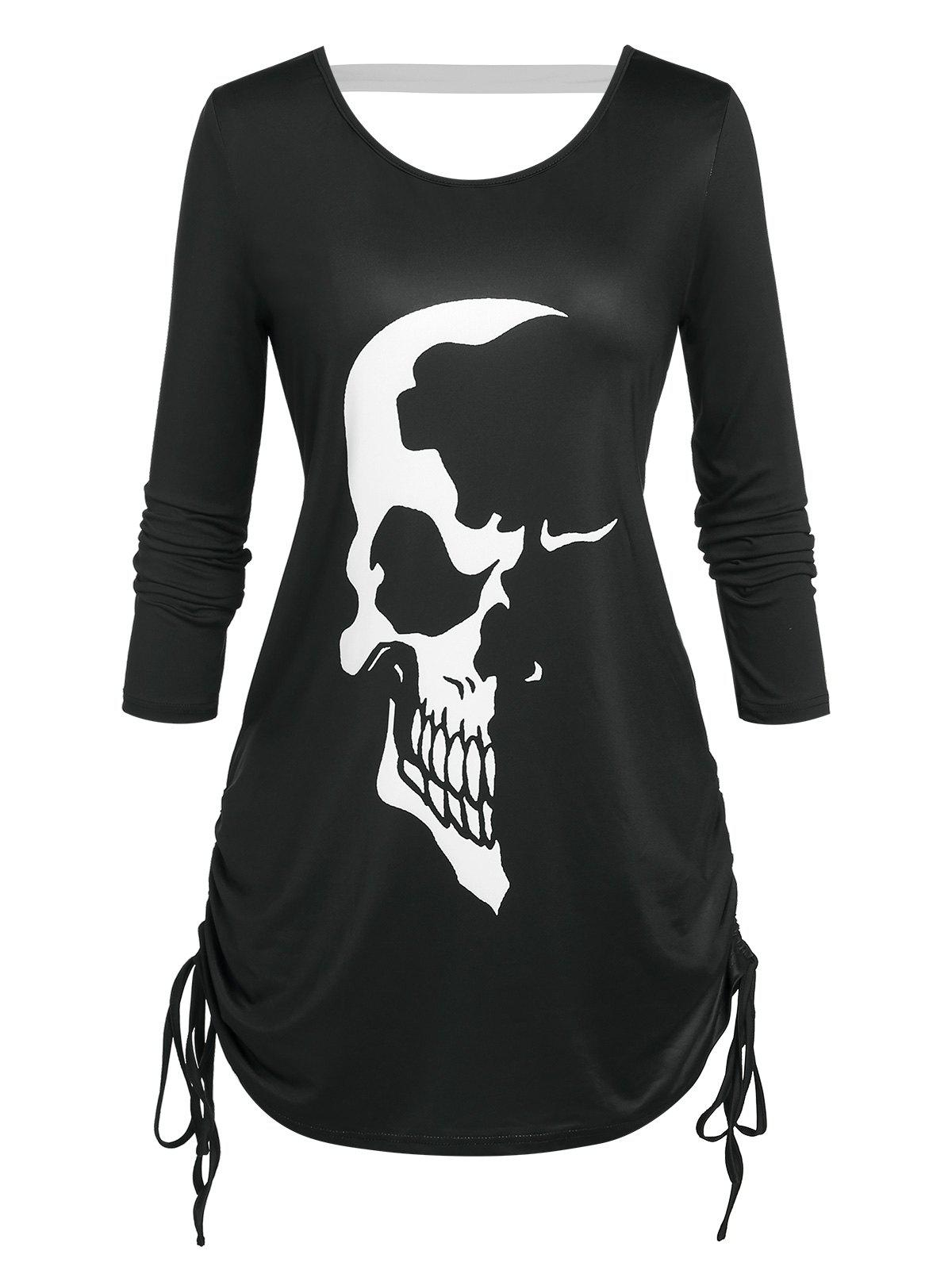 Store Plus Size Skull Print Cinched Halloween T-shirt