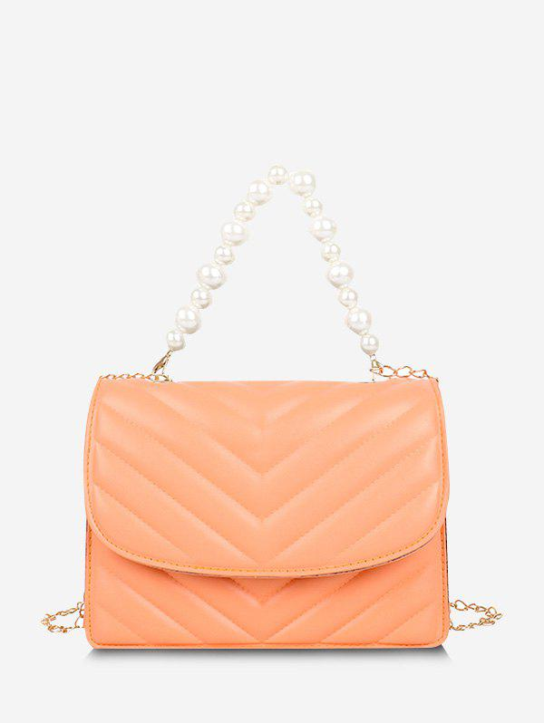 New Zigzag-Quilted Faux Pearl Crossbody Bag