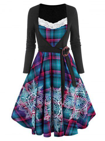 Lace Insert Plaid Bohemian Flower Print O Ring Belted Dress