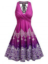 Plus Size Lace Up Tribal Print Crossover Dress -