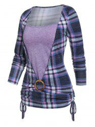 Plaid Print Cinched O-ring Faux Twinset T-shirt -