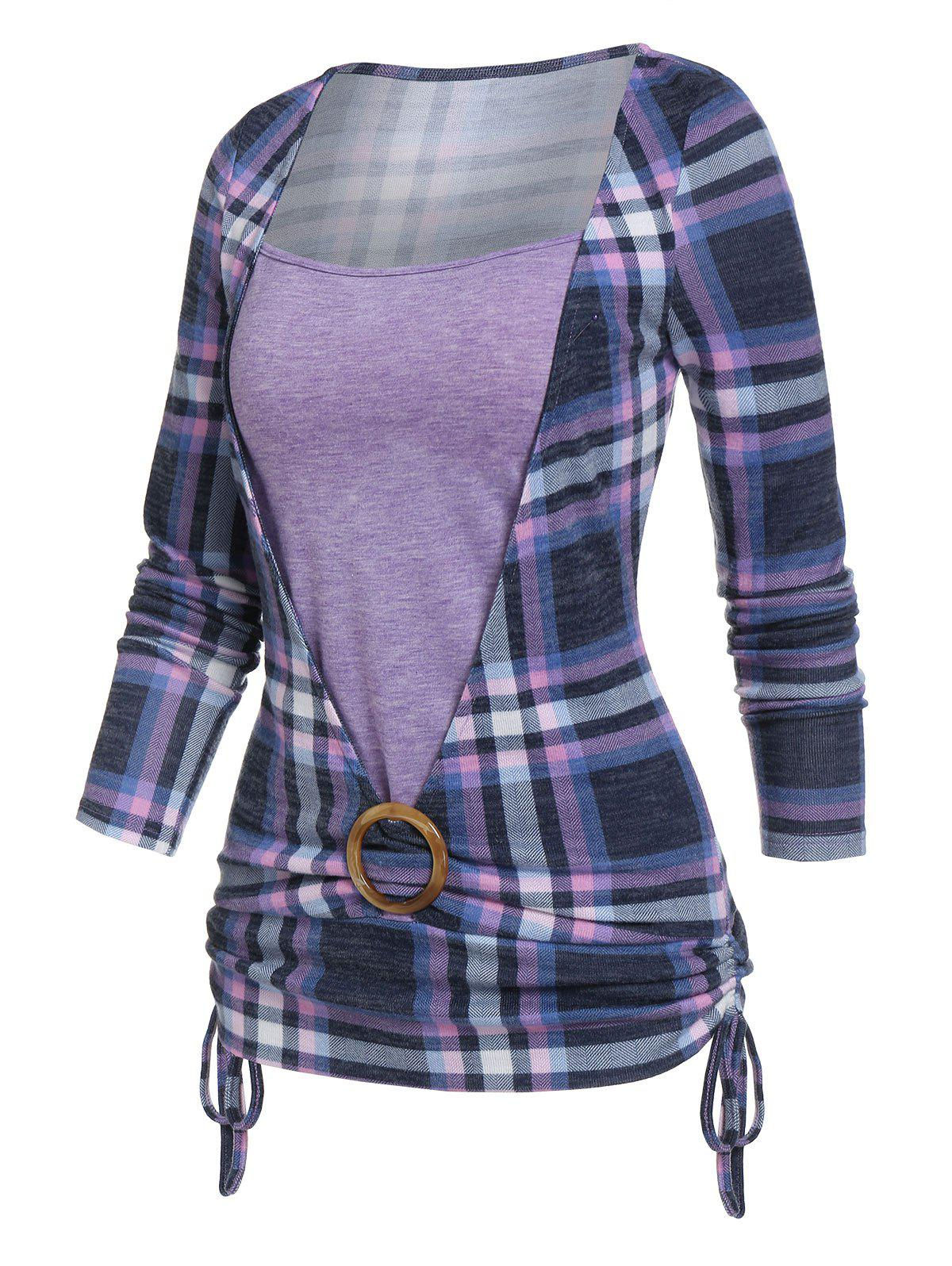 Buy Plaid Print Cinched O-ring Faux Twinset T-shirt