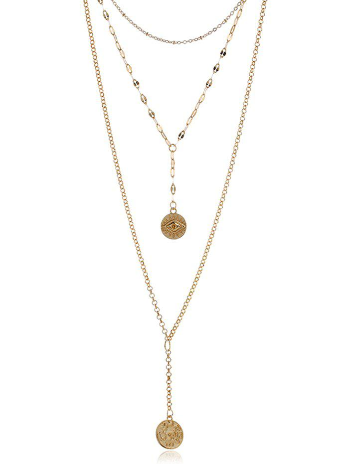 Best Engraved Eye Coin Pendant Layered Necklace