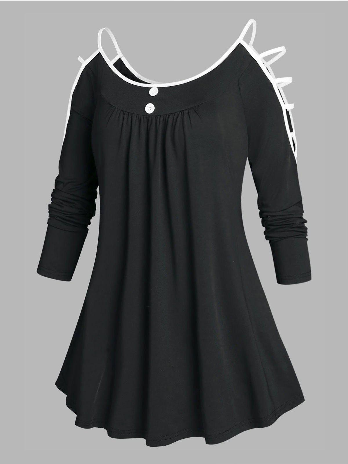 Outfits Plus Size Ladder Cutout Open Shoulder Tunic Tee