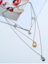 Palm Trees Conch Layered Pendant Necklace -