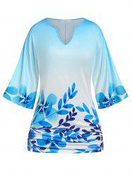 Plus Size Batwing Sleeve Floral Print T-shirt -