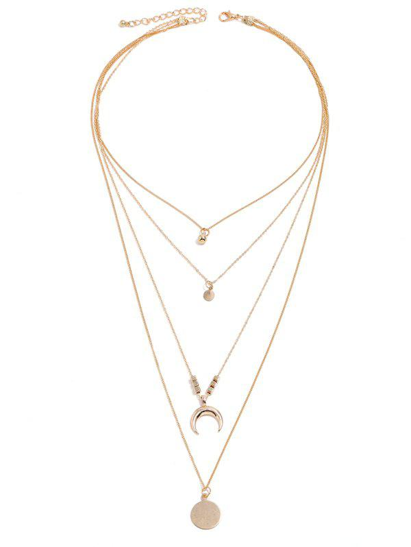Cheap Disc Crescent Pendant Layered Necklace