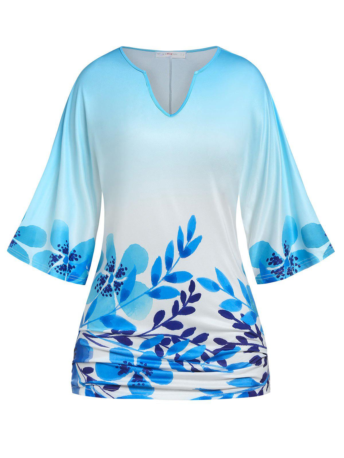 Hot Plus Size Batwing Sleeve Floral Print T-shirt