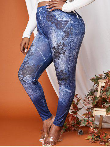 Plus Size High Waisted Flowers 3D Print Skinny Jeggings - DEEP BLUE - 1X