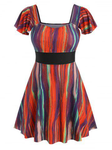 Plus Size Colorful Striped Flutter Sleeve Skirted Two Piece Swimwear - MULTI - 2X
