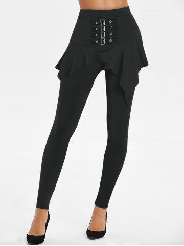 High Rise Buckled Skirted Pants - BLACK - M