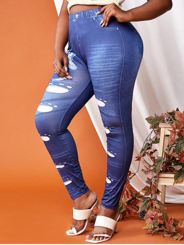 Plus Size Flowers 3D Print High Waisted Skinny Jeggings - BLUE - 5X