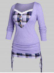 Plus Size Cinched Plaid 2 in 1 T-shirt -