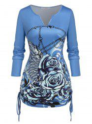 Plus Size Cinched Rose Chains Print T-shirt -