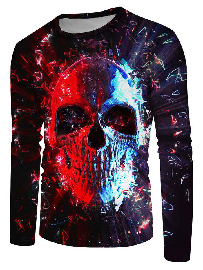 Outfits Long Sleeve Contrast Skull Print T-shirt
