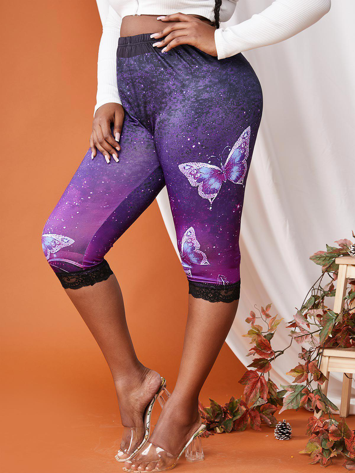 Affordable Plus Size Lace Trim Galaxy Butterfly Print Leggings