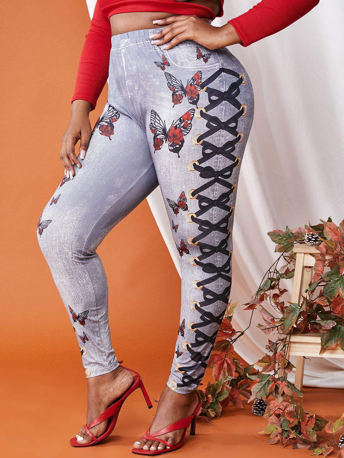 Online Plus Size 3D Lace-up Butterfly Print Jeggings