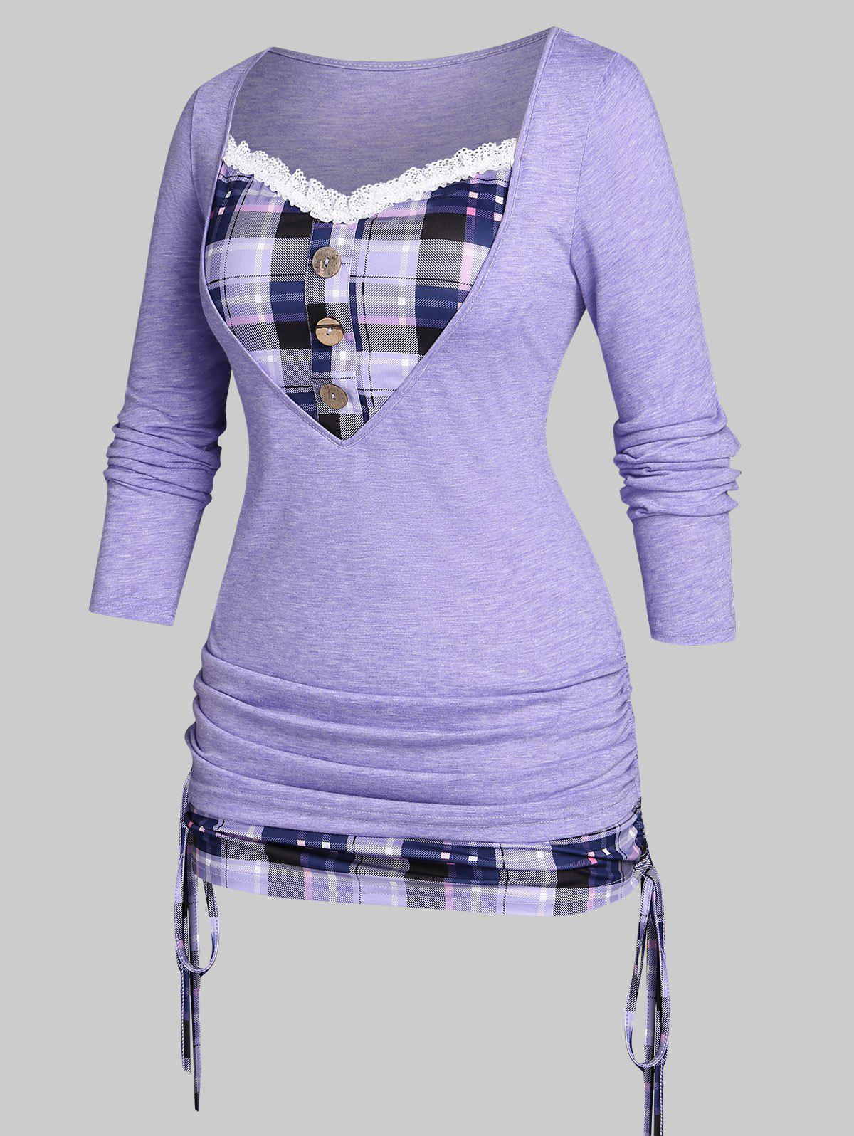 New Plus Size Cinched Plaid 2 in 1 T-shirt