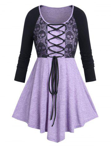 Plus Size Skull Lace Panel Lace-up Halloween Tee