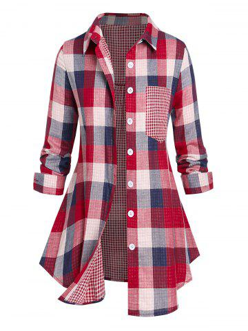 Plus Size Gingham Plaid Pocket Button Up Shirt - RED - 2X