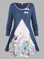 Plus Size Floral Print Frog Buttons 2 in 1 T-shirt -